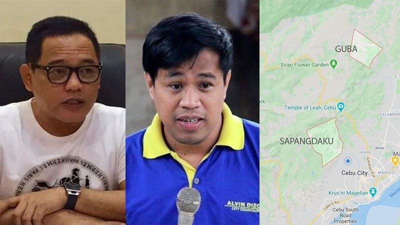CEBU. Cebu City Councilors Dave Tumulak and Alvin Dizon and map showing Barangay Sapangdaku ang Guba. (SunStar/Google Maps)