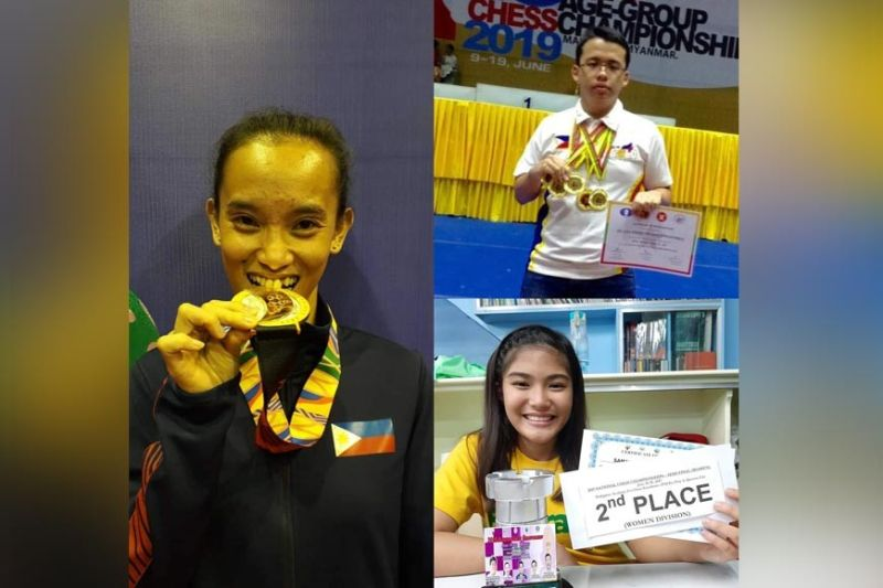 DAVAO. Southeast Asian Games 2019 arnis gold medalist Jezebel Morcillo (left), Asean Age-Group Chess Championships gold medalist international master John Marvin Miciano (top right), and Asean Age Group Chess Championships triple silver medalist Samantha Umayan will be among the athletes to be cited in the 26th So Kim Cheng Sports Foundation Awards set at 3 p.m. of July 22 and 23 set at Eskina at BizPark in Lanang Business Park, Davao City. (Contributed photos)