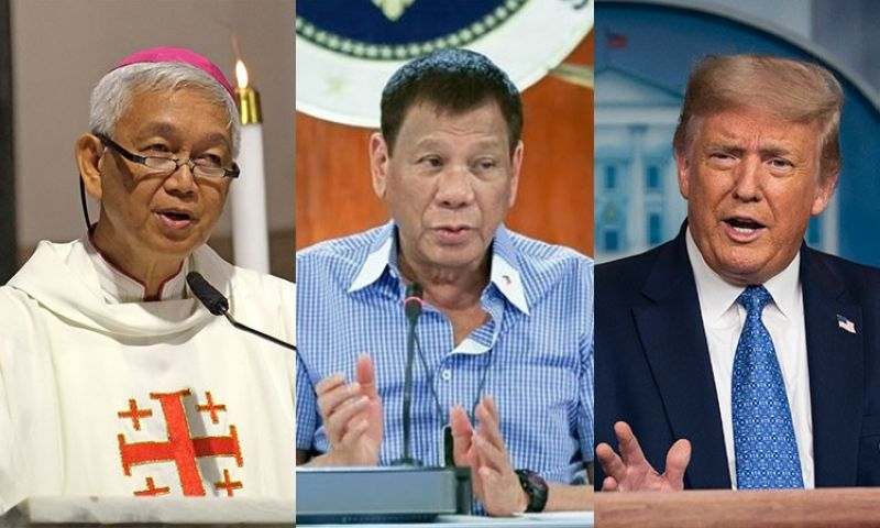 MANILA. (From left) Bishop Broderick Pabillo, President Rodrigo Duterte and US President Donald Trump. (Photos from CBCP News, Presidential Communications and AP)