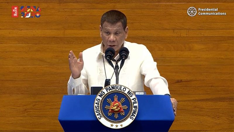 MANILA. President Rodrigo Duterte delivers his fifth State of the Nation Address on Monday, July 27, 2020. (Screenshot from Presidential Communications' video)