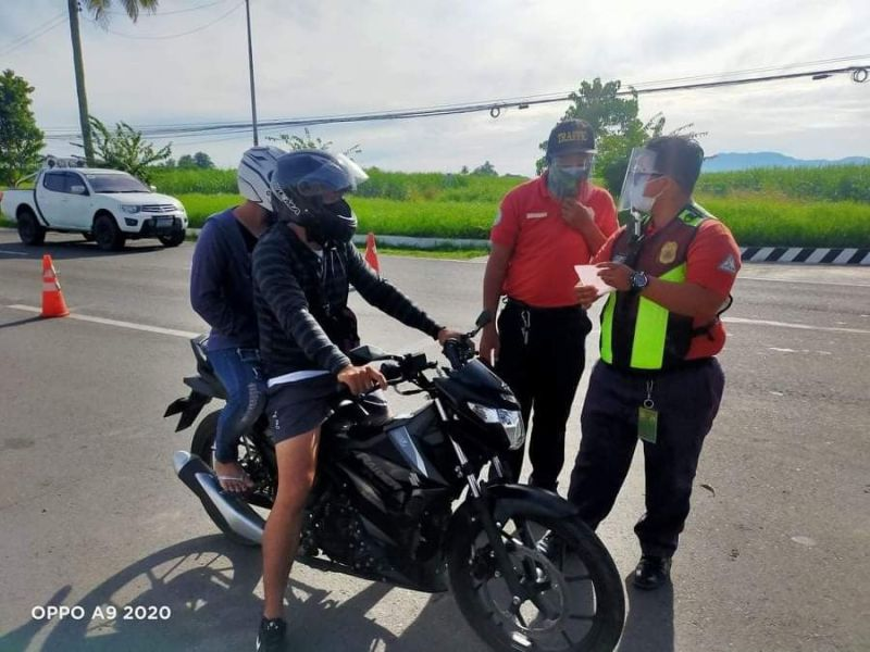 The Bacolod Traffic Authority Office (BTAO) arrests 48 motorcycle riders from August 1 and 2 for failure to install barriers as part of the measures to protect riders against coronavirus disease. (BTAO photo)