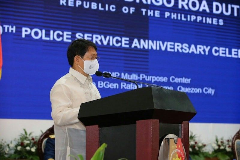MANILA. Local Government Secretary Eduardo Año speaks during the Police Service anniversary celebration on August 6, 2020. (Photo from PNP)