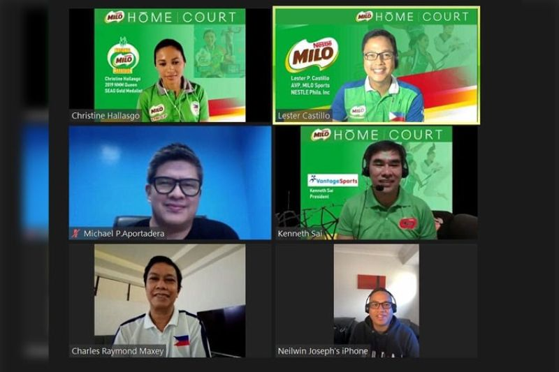 VIRTUAL PRESSER. Guests during the Milo Homecourt Campaign virtual presser from top first column, Southeast Asian Games 2019 and National Milo Marathon champion Christine Hallasgo, Philippine Sports Commissioner Charles Raymond A. Maxey, Sports Development Division of the City Mayor's Office officer-in-charge Mikey Aportadera; from top second column, Nestle Philippines Assistant Vice President Lester P. Castillo, and Vantage Sports Promotions head Kenneth Sai. (Contributed photo)