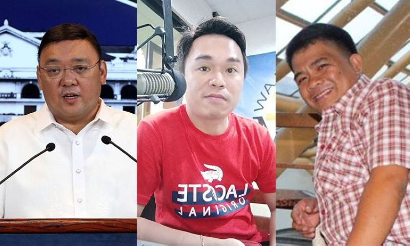 (FROM LEFT) Presidential Spokesperson Harry Roque and broadcasters Eric Siras Manait and Chito Aragon. (Photos from Presidential Communications and Facebook accounts of Manait and Aragon)
