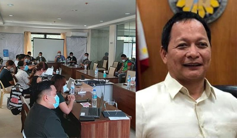 CEBU. Emergency Operations Center Cluster heads meeting (left photo) attended by PRO-Central Visayas Director Albert Ignatius Ferro, AFP Major General Roberto Ancan, IATF Deputy Chief Implementer for the Visayas Melquiades Feliciano and Cebu City Councilor Joel Garganera (right photo).