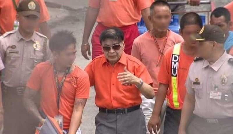 MANILA. Former Calauan, Laguna mayor Antonio Sanchez (center), a convicted rapist and murderer, was spotted around 1 p.m. Thursday, August 22, 2019, inside the New Bilibid Prison. (Contributed Photo)