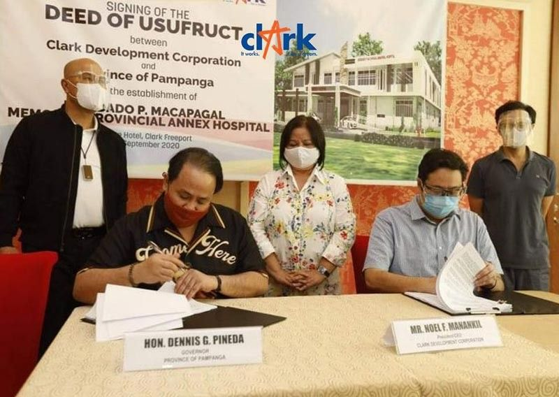 PAMPANGA. The Provincial Government of Pampanga signed a deed of usufruct with Clark Development Corporation for the construction of the Diosdado P. Macapagal Memorial Provincial Hospital Annex inside the Freeport. (CDC-CD)