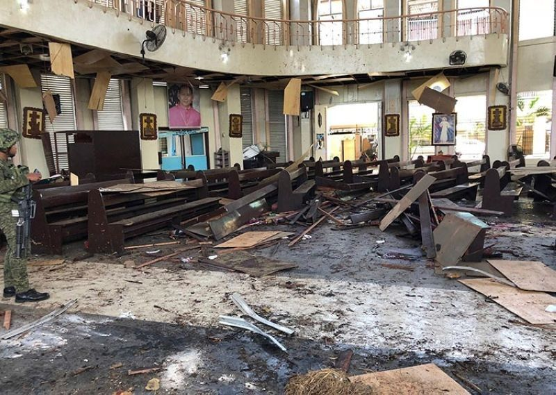 SULU. The Jolo Cathedral sustained heavy damage after a suicide bombing attack in January 2019. (File Photo)