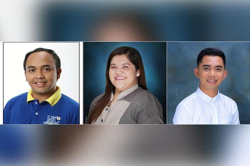 GRADUATE STUDENTS. Lloyd Vincent Sasil, University of Cebu; Regina Via Garcia, of Davao de Oro and Robert Gie Pianar of Leyte Normal University.