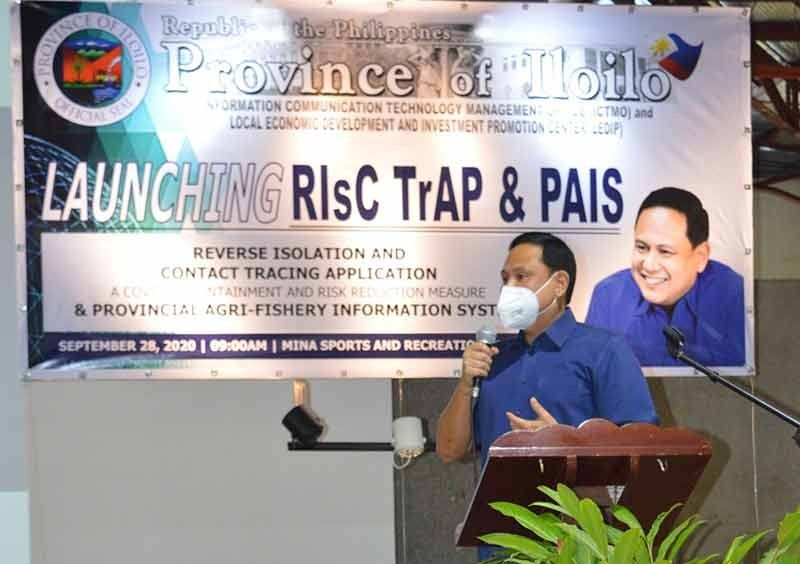 ILOILO. Governor Arthur Defensor Jr. delivers his message during the launching of RIsC TrAp at the Mina Sports and Cultural Center in Mina, Iloilo. (Capitol PIO)