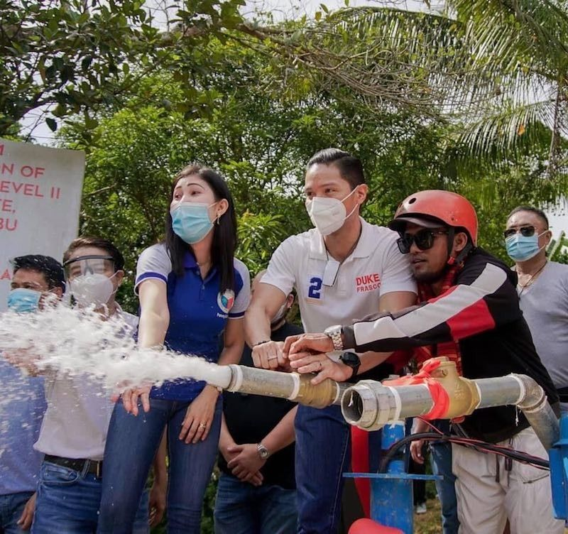CEBU. Rep. Vincent Frasco turns over potable water systems to three barangays in Carmen town in northern Cebu. (CONTRIBUTED)
