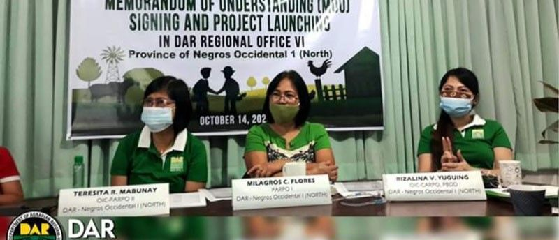 BACOLOD. (From left) DAR-Negros Occidental I Officer-In-Charge (OIC) Provincial Agrarian Reform Program Officer II Teresita Mabunay, Provincial Agrarian Reform Program Officer I Milagros Flores, and OIC-Chief Agrarian Reform Program Officer of Program Beneficiaries Development Division Rizalina Yuguing during the virtual launching of Enhanced Partnership Against Hunger and Poverty project on Wednesday, October 14, 2020. (Contributed Photo)