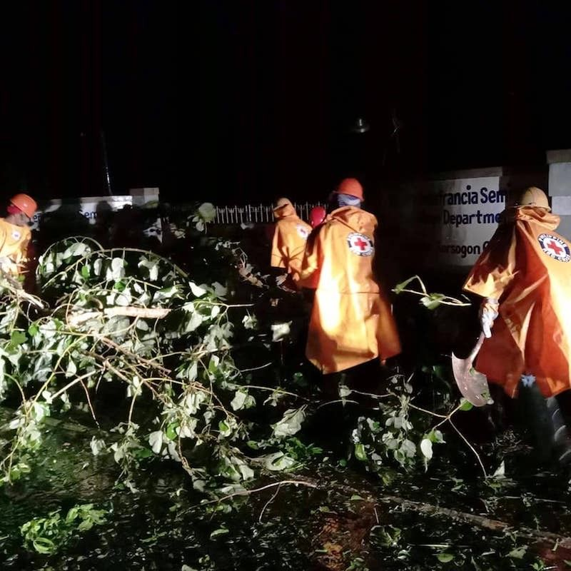 BICOL. A team from the Philippine Red Cross conducts clearing operations in the aftermath of Typhoon Quinta in Sorsogon. (Philippine Red Cross Facebook)