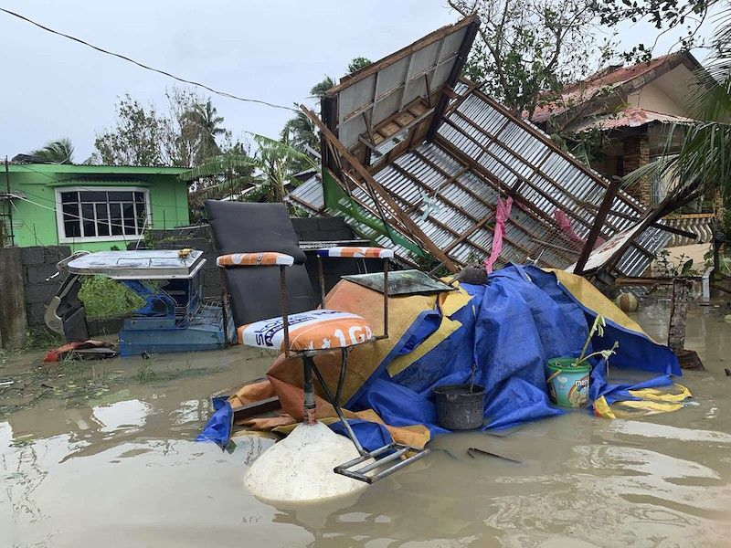 MINDORO. This is what remained of a barbershop in Pola town on the island of Mindoro, where Typhoon Quinta made its fifth landfall on October 26, 2020. (AP)