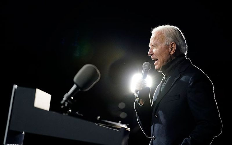USA. Democratic presidential candidate former Vice President Joe Biden speaks during a drive-in campaign rally at Lexington Technology Park, Monday, November 2, 2020, in Pittsburgh. (AP)