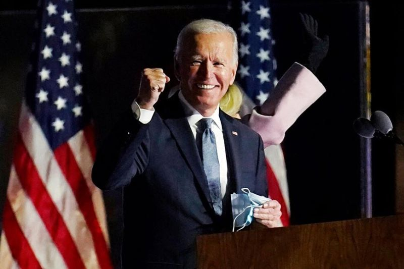 Democratic presidential candidate former Vice President Joe Biden speaks to supporters, early Wednesday, Nov. 4, 2020, in Wilmington, Del. Biden defeated President Donald Trump to become the 46th president of the United States. (AP)
