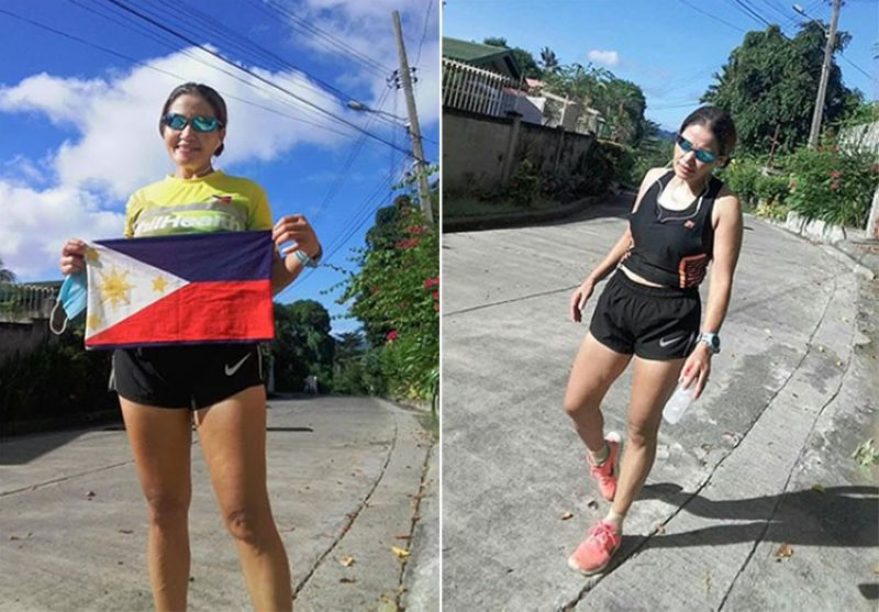 DAVAO PRIDE. Veteran Olive Firmeza of Davao City survived weary legs and dizziness to capture the runner-up honors in the women's 42.2K 26 Virtual Madrid Marathon recently. (Contributed photo)