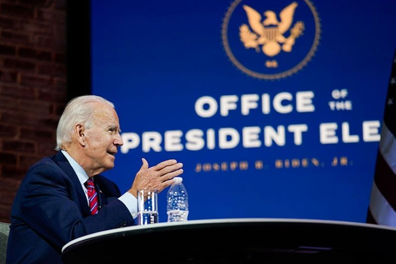 USA. President-elect Joe Biden speaks during a meeting at The Queen theater Monday, November 23, 2020, in Wilmington, Delaware. (AP)