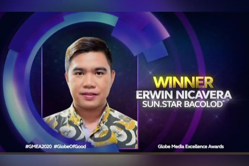 BACOLOD. SunStar Bacolod multimedia content editor and reporter Erwin Nicavera bags three awards and six finalist citations in the just-concluded Globe Media Excellence Awards (GMEA) 2020. (Screenshot from the awarding ceremony of Globe Media Excellence Awards 2020)