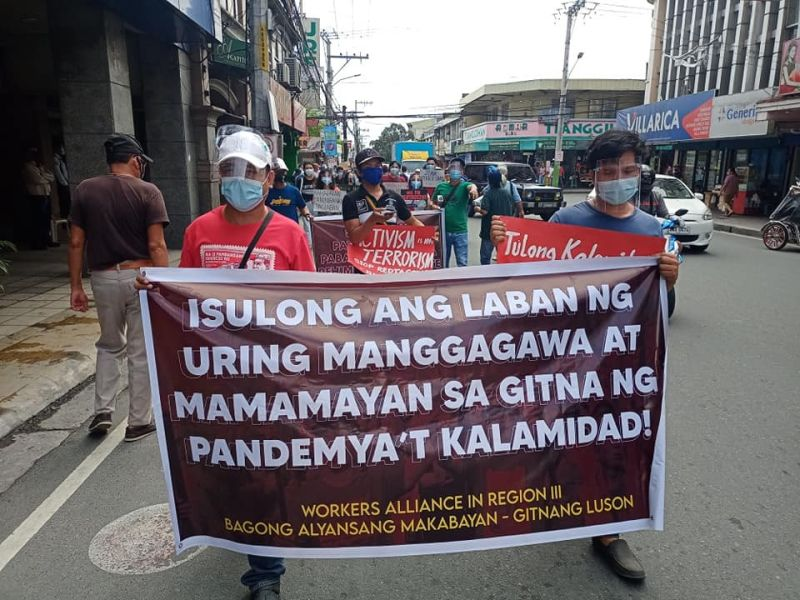 PAMPANGA. Members of the Workers Alliance in Central Luzon and Bagong Alyansang Makabayan Gitnang Luzon staged a Bonifacio Day rally in Angeles City on Monday, November 30, 2020. (Contributed photo)