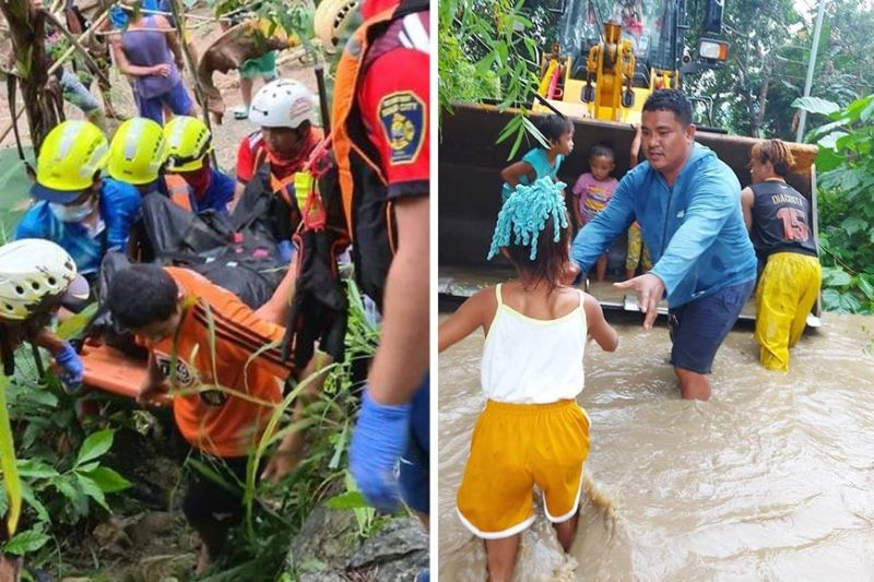 WRATH OF RIVERS. After heavy rains cause rivers to overflow, rescuers in Danao City (left) retrieve the body of Waren Jay Almaden, 27, in Brgy. Sta. Rosa, after he was swept by floodwaters Wednesday, Dec. 2, 2020, while in Balamban town (above), they load children onto a bulldozer to save them from knee-deep water.  (FROM FACEBOOK PAGES OF CDRRMO-DANAO CITY (LEFT) AND ALAGAD SA BALAMBAN)
