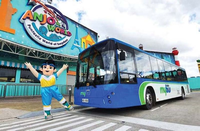 RIDE. Anjo World has recently inked a partnership with MyBus to give more easy transportation access to the premier amusement destination. / ANJO WORLD