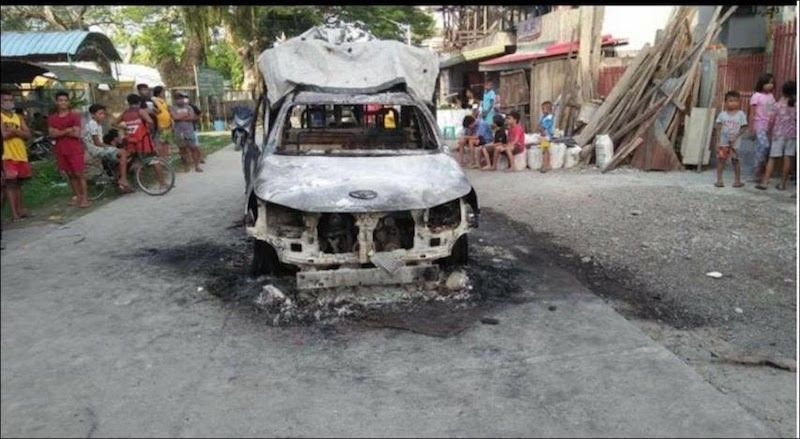 MAGUINDANAO. Armed men from the Bangsamoro Islamic Freedom Fighters and Dawlah Islamiya attack a police station and an Army patrol base, and torch a police car in Datu Piang, Maguindanao on December 3, 2020. (PNP)