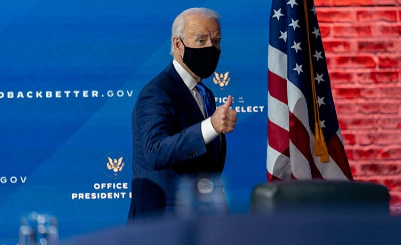 USA. President-elect Joe Biden departs a news conference after introducing his nominees and appointees to economic policy posts at The Queen theater, Tuesday, December 1, 2020, in Wilmington, Delaware. (AP)