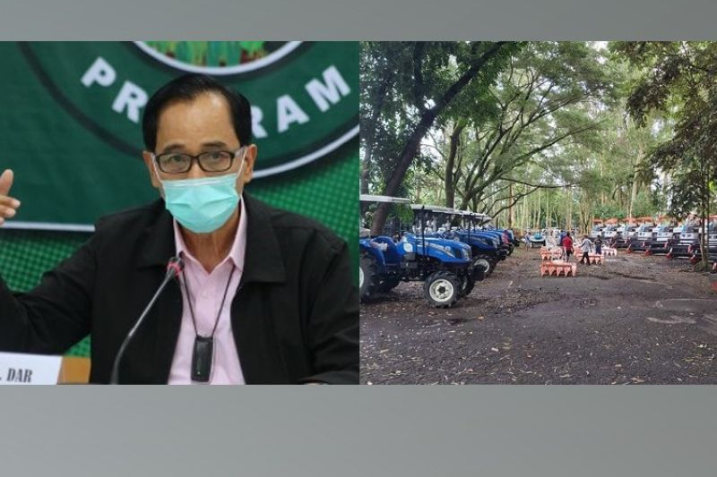 BACOLOD. DA Secretary William Dar (left photo) will lead the launching, distribution and turnover of over P450 million worth of various programs projects in Negros Occidental today, December 8, including these farm machineries (right photo) to be given to farm associations in the province. (PNA/Albert Barrogo)