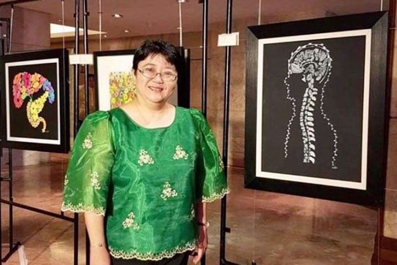 """DR. MAYLEEN LAICO and her works. Right photo shows her """"Flower Kidney,"""" which made it to the cover of the American Journal of Kidney Diseases."""