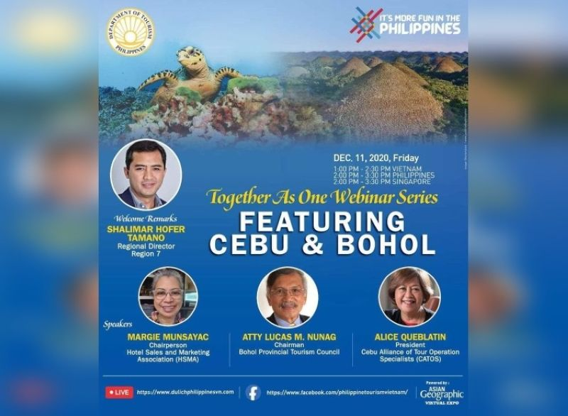 CEBU. DOT-Central Visayas and the Philippines Department of Tourism-Vietnam provide a product update about Cebu and Bohol to the Vietnam Travel Market on Friday, December 11, 2020. (Contributed photo)