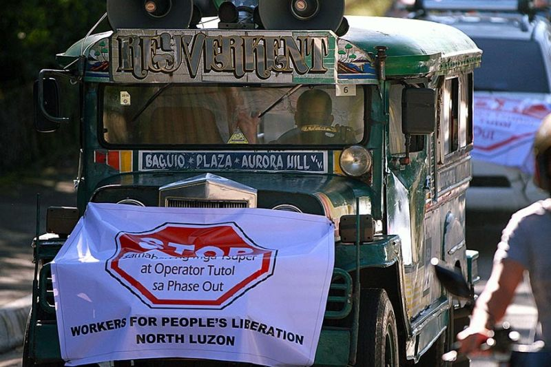 NO TO JEEPNEY PHASE-OUT. Samahan ng mga Tsuper at Operator Tutol sa Phase-out (Stop) holds a caravan going to the regional office of the Land Transportation and Regulatory Board to voice their opposition against new Euro-4 mini buses plying the Trancoville and Aurora Hill trunk lines. (JJ Landingin)