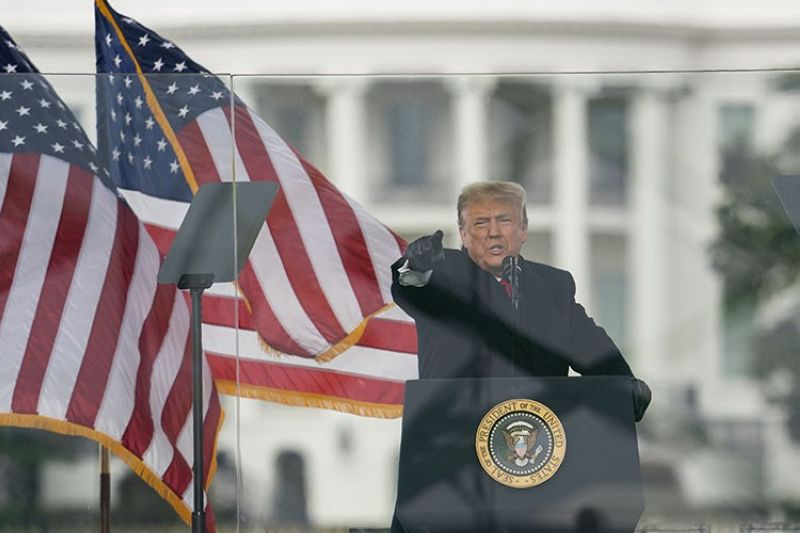 President Donald Trump speaks during a rally protesting the electoral college certification of Joe Biden as President, Wednesday, Jan. 6, 2021, in Washington. (AP Photo)