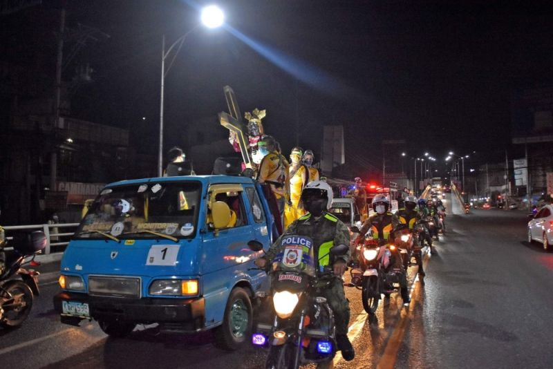 CAGAYAN DE ORO. The commemoration of the Feast of the Black Nazarene this year in Cagayan de Oro, which began with a motorcade at 10 p.m. on Friday, January 8, was generally peaceful. (Photo from City Information Office)
