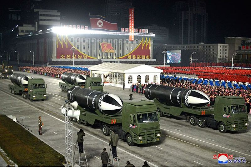 NORTH KOREA. This photo provided by the North Korean government shows missiles during a military parade marking the ruling party congress, at Kim Il Sung Square in Pyongyang, North Korea Thursday, January 14, 2021. (AP)