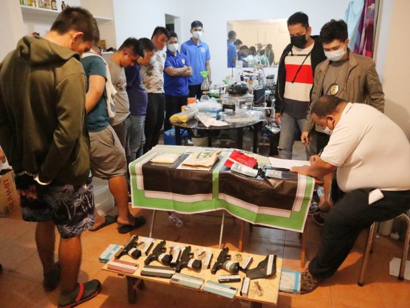 SHABU LAB. Police confiscated one kilo and 300 grams of shabu, guns, equipment and other paraphernalia at a clandestine laboratory inside the Subic Freeport. Four police officers and a civilian were arrested on Friday, January 15, 2021. (Ric Sapnu)