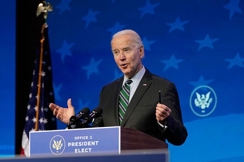 USA. President-elect Joe Biden speaks during an event at The Queen theater, Saturday, January 16, 2021, in Wilmington, Delaware. (AP)