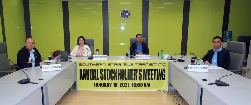 NEGROS. Leo Rey Yanson (second from right) was re-appointed as chairman of the Board and president of  Southern Star Bus Transport Inc. during its annual stockholders and organizational meeting on January 18, 2021. (Contributed Photo)