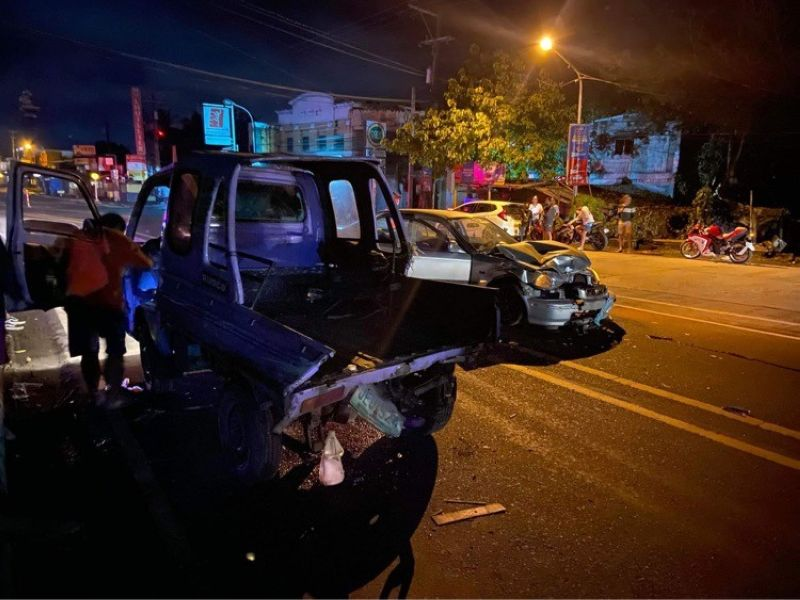 BACOLOD. Two persons were injured in a road accident on Araneta Street, Barangay Sum-ag, Bacolod City Monday morning, January 18, 2021. (BCPO photo)