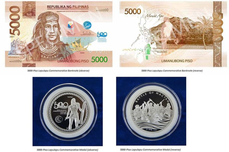 MEMORIAL. The commemorative P5,000 banknote and medal aim to celebrate the heroism of Lapu-Lapu and his warriors and to familiarize the present generation with the country's rich pre-colonial history. / BSP