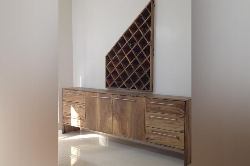 WINE CELLAR and dining console constructed entirely of Molave hardwood.