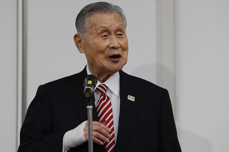 Yoshiro Mori, the president of the Tokyo Olympic organizing committee, speaks at a news conference in Tokyo Thursday, Feb. 4, 2021. (AP Photo)