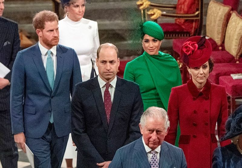 UK. In this file photo dated Monday March 9, 2020, from back, Britain's Prince Harry and Meghan Duchess of Sussex, Prince William and Kate, Duchess of Cambridge, with Prince Charles (front) as the family members leave the annual Commonwealth Service at Westminster Abbey in London. (AP)
