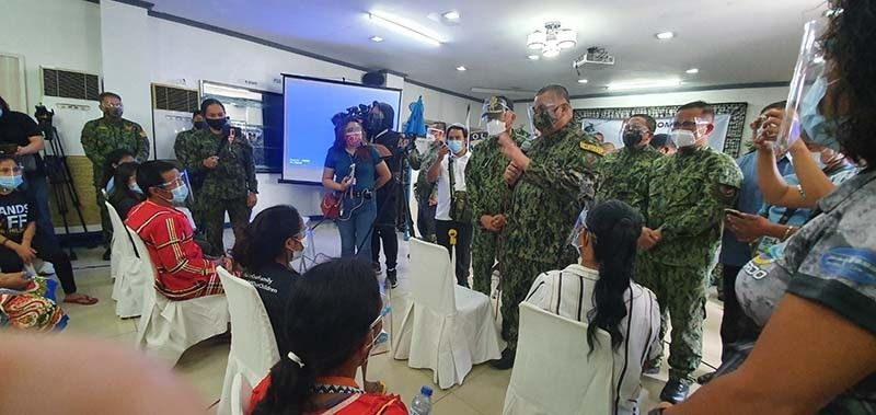 PNP Chief Police General Debold Sinas visited Friday morning and spoke to the 19 Lumad children from Talaingod, Davao del Norte who were earlier rescued from suspected child traffickers by the combined police and local social welfare authorities at a retreat house of the SVD-run University of San Carlos in Talamban, Cebu City. Contributed photo
