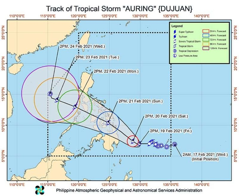 Typhoon Auring path