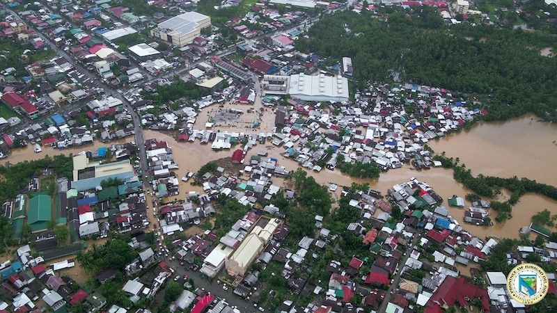 SURIGAO DEL SUR. Aerial view of the flooded communities in Surigao del Sur on February 21, 2021 due to