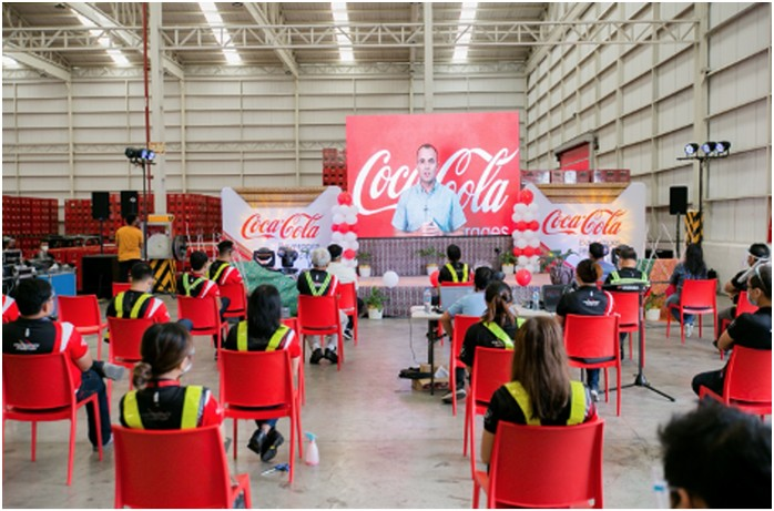 A MILESTONE FOR MINDANAO AND THE COUNTRY. Coca-Cola Beverages Philippines, Inc. (CCBPI) CEO and President Gareth McGeown joins the inauguration ceremony virtually, sharing Coca-Cola's commitment to continue caring for its people, securing jobs, and supporting growth in the region.