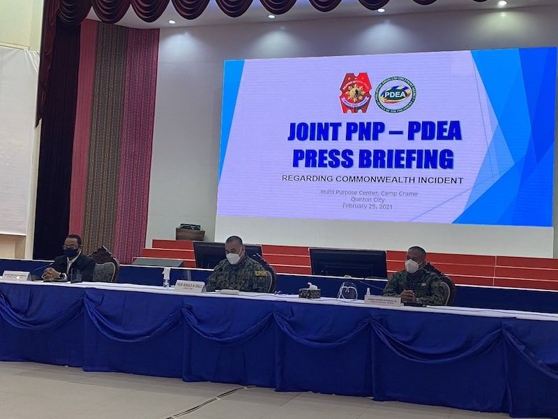 MANILA. Officials of the PNP and PDEA hold a joint press conference on February 25, 2021, a day after a misencounter between their personnel killed two policemen, one PDEA agent and an asset. (Third Anne Peralta-Malonzo)