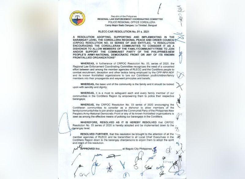 """TOKHANG FOR LEFTISTS. A copy of the resolution signed by all members of the Regional Law Enforcement Coordinating Committee in the Cordillera Administrative Region allowing the conduct of """"Oplan Tokhang"""" against """"left-leaning personalities"""" in the government and media, among other entities. (Contributed photo)"""