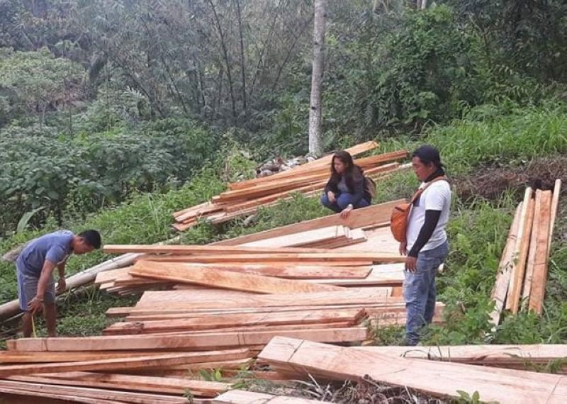 ZAMBOANGA. The Department of Environment and Natural Resources (DENR) on Wednesday, February 24, seized illegally cut lumbers in Tamao village, Baliguian, Zamboanga del Norte. A photo handout shows DENR personnel inspecting the confiscated lumber. (SunStar Zamboanga)
